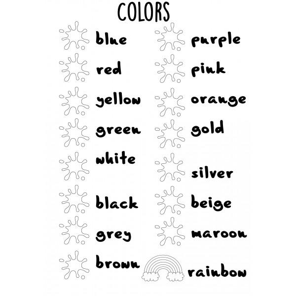 Fiche couleurs à compléter