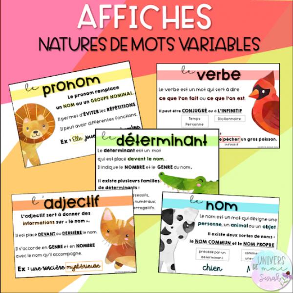 Affiches - nature de mots variables