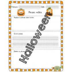 Halloween, Phrases mêlées, Je lis et j'écris