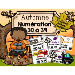 Automne, 5 ateliers de numération, 30 à 39