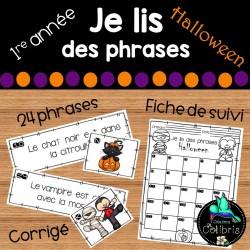 Halloween, Je lis des phrases, Atelier, 1re année