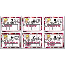 Affiches de nombres St-Valentin Préscolaire 0-10