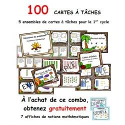 100 cartes à tâches mathématique 1er cycle