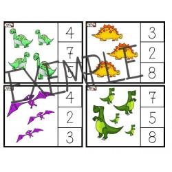 Cartes de dénombrement Dinosaures