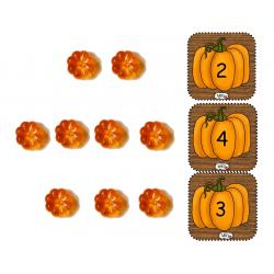 Cartes dénombrement citrouilles