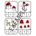 Cartes à pinces dénombrement Noël