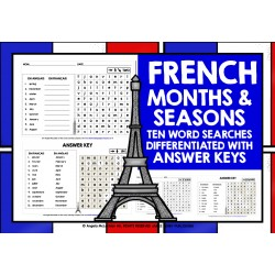 FRENCH MONTHS & SEASONS WORD SEARCHES