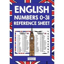 ESL EFL ENGLISH NUMBERS 0-31 REFERENCE LIST