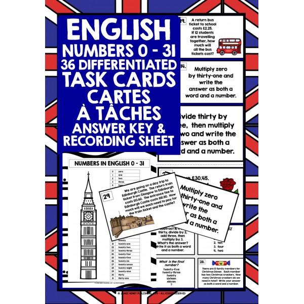ESL EFL ENGLISH NUMBERS 0-31 CARTES À TÂCHES