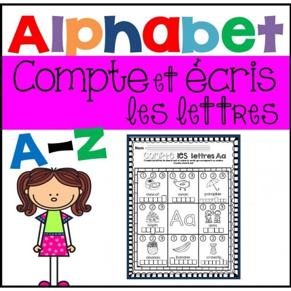 Compte et écris les lettres - Alphabet