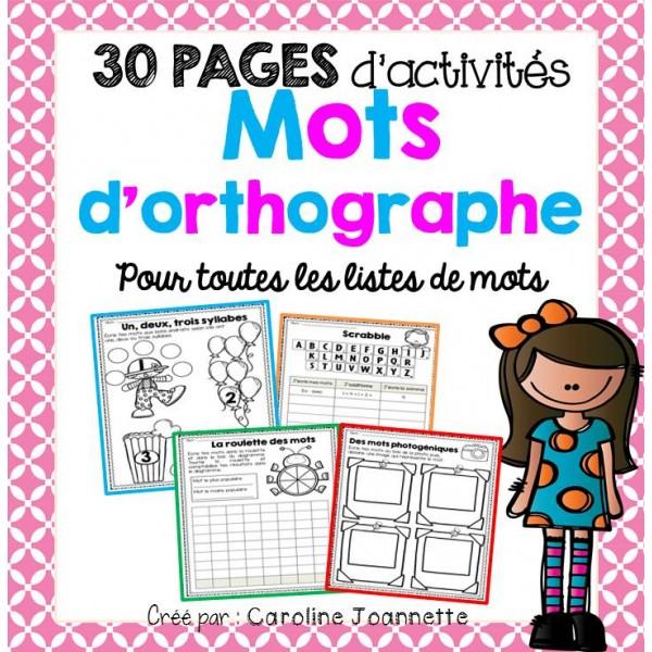 30 activités pour l'étude de mots