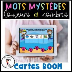 Mots mystères - couleurs et nombres Cartes BOOM