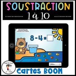 Soustraction 1 à 10 Cartes à tâches BOOM Learning