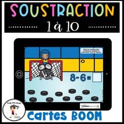 Soustraction 1 à 10 Cartes à tâches BOOM - Hockey