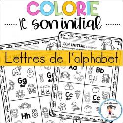 Colorie le son initial - Lettres de l'alphabet