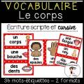 Mots de vocabulaire   Étiquettes CORPS