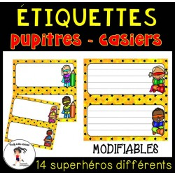 Étiquettes modifiables-pupitres|casiers Superhéros