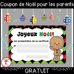 GRATUIT Cadeau/coupon de Noël pour les parents