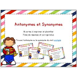 Cartes à tâches - Antonymes et synonymes