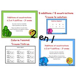 Cartes à tâches - Add. et soust. 3 et 4 chiffres