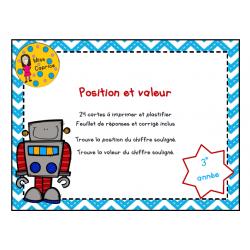 Position et valeur - 2e cycle