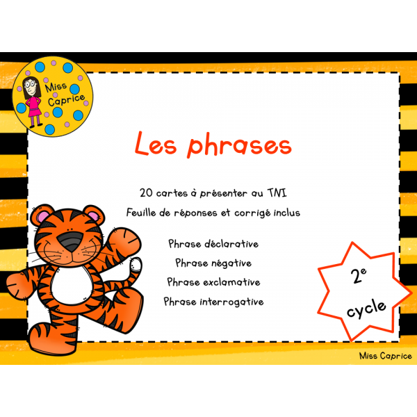 Les phrases - 2e cycle