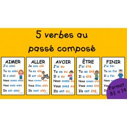 5 verbes passé composé - 8½x14 - 2e cycle