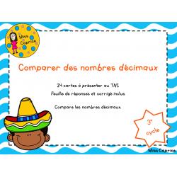 Comparer des nombres décimaux - 3e cycle