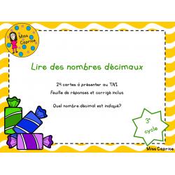 Lire des nombres décimaux - 3e cycle