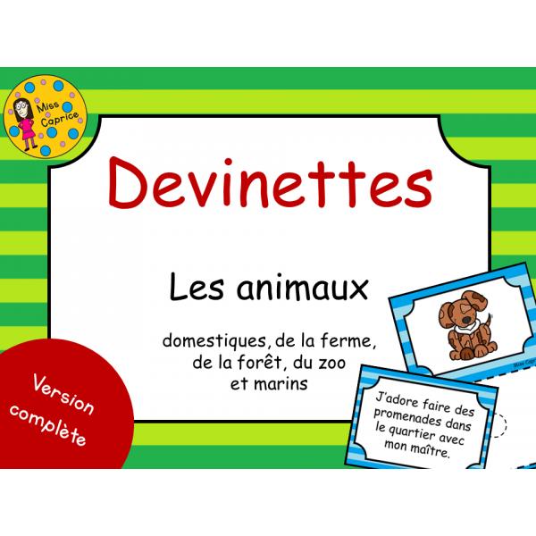 Devinettes - Les animaux - 1er cycle