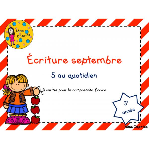 Cartes d'écriture de septembre - 3e année