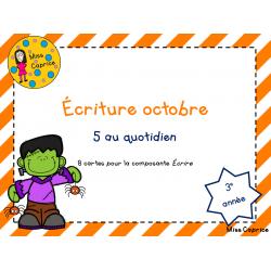 Cartes d'écriture d'octobre - 3e année
