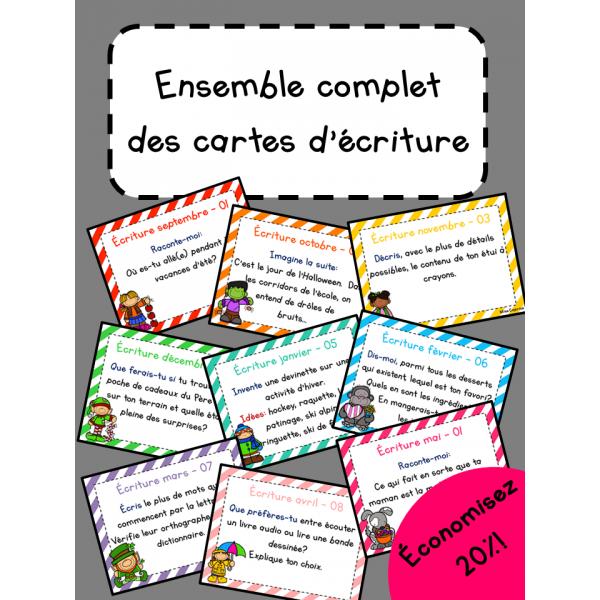 Cartes d'écriture - Ensemble complet - 3e année