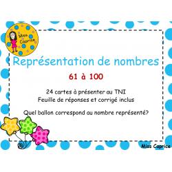 Représentation de nombres 61 à 100 - 1re année