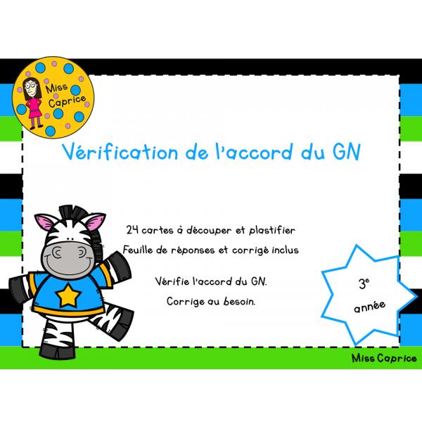 Vérification de l'accord du GN - 3e année