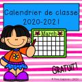 Calendrier de classe 2020-2021