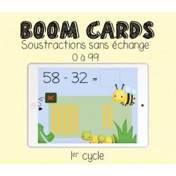 Boom Cards - Soustractions SANS emprunt (0-99)