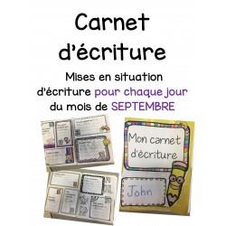 Carnet d'écriture-Septembre