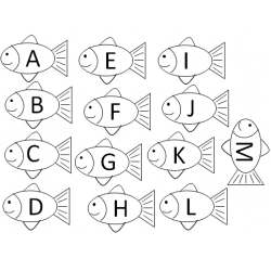 Poisson alphabet majuscule et minuscule