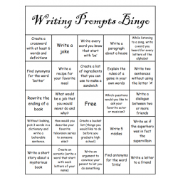 Writing prompts Bingo
