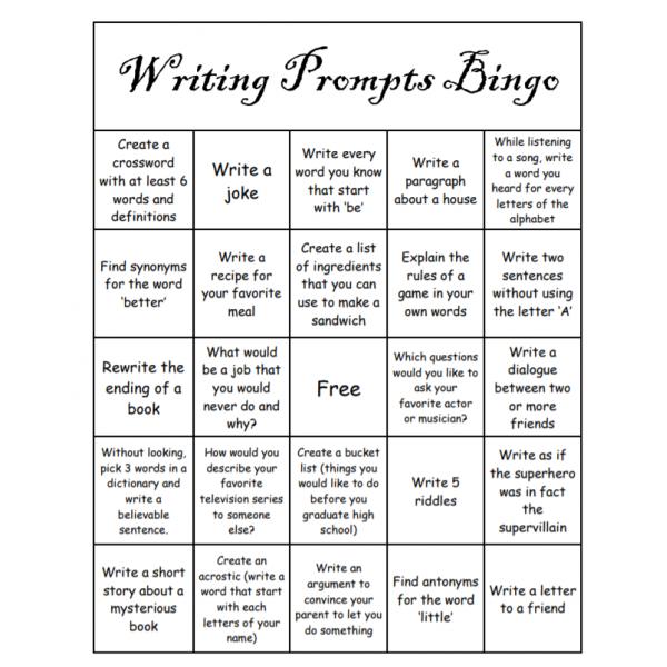 Writing prompts Bingo