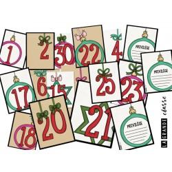Calendrier privilèges à remplir pour décembre/Noël