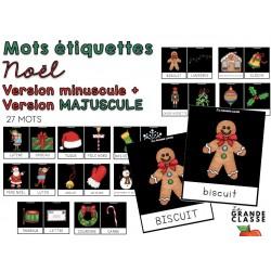 Ensemble de mots étiquettes de Noël