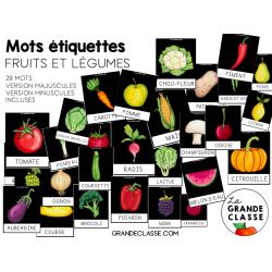 Mots étiquettes Fruits et légumes
