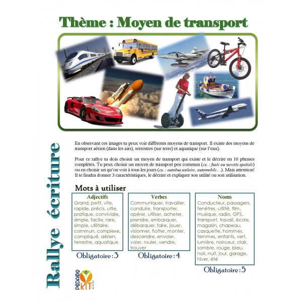 Écriture Rallye transport (descriptif)