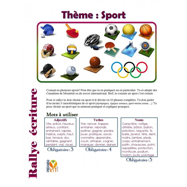 Écriture Rallye sport (descriptif)