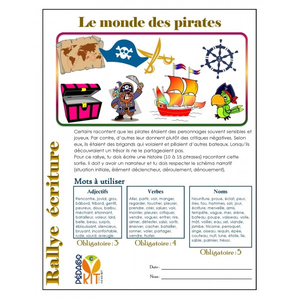 Écriture Rallye pirates (narratif)