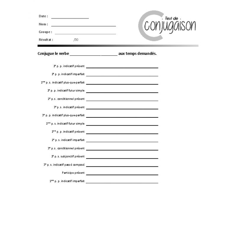 Conjugaison 8 Verbes