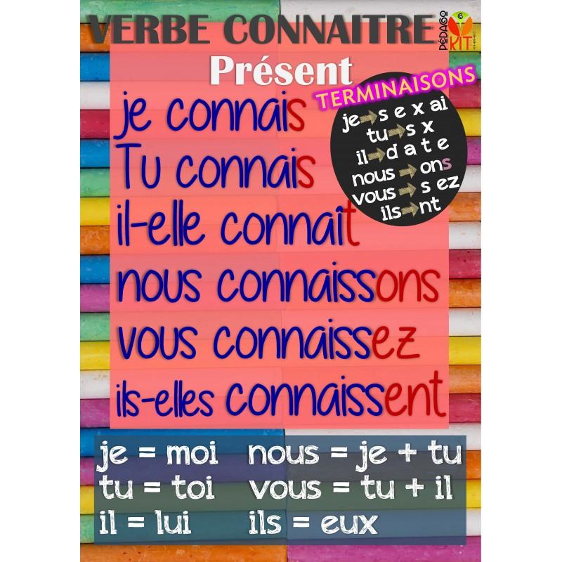 Francais Poster Verbe Connaitre Present