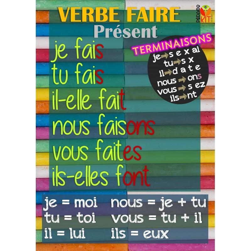 Français Poster verbe faire présent